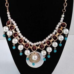 Boho Faux Pearl necklace & Bracelet Set
